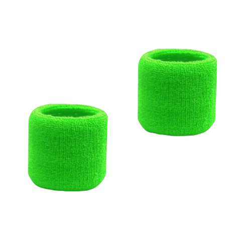 Sweatband for Wrist Terry Cotton Wristbands 2 Bright Green
