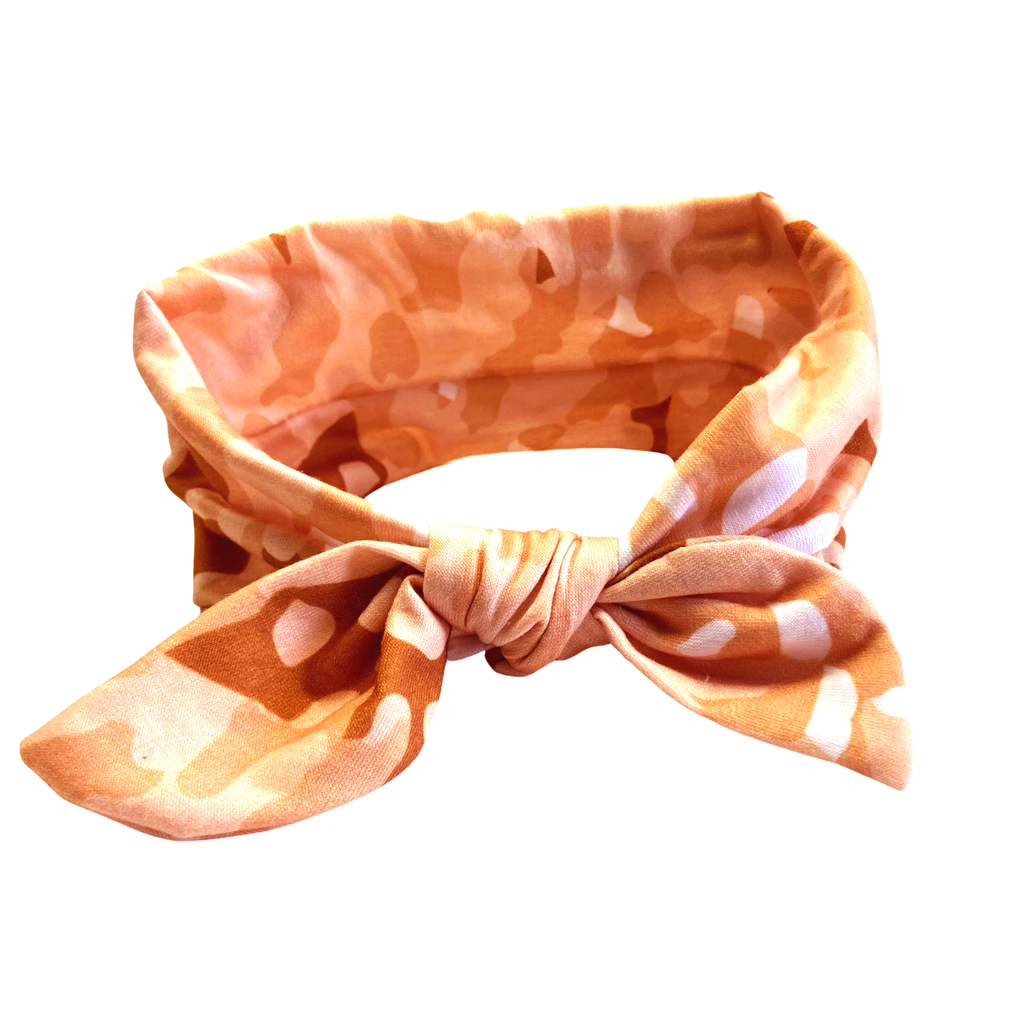 Knotted Bow Cotton Stretch Headband Peach Camo 1