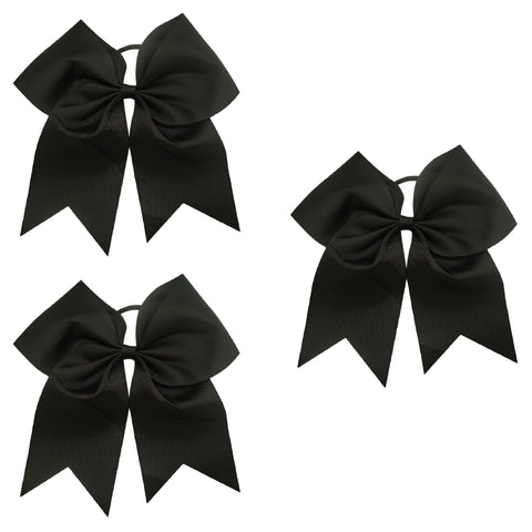 3 Black Cheer Bows Large Hair Bow with Ponytail Holder Cheerleader Ponyholders Cheerleading Softball Accessories