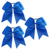 3 Blue Cheer Bow Large Hair Bows with Ponytail Holder Cheerleader Ribbon Cheerleading Softball Accessories