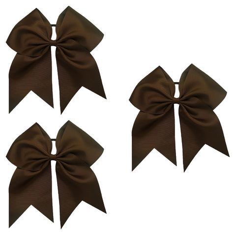 3 Brown Cheer Bow Large Hair Bows with Ponytail Holder Cheerleader Ribbon Cheerleading Softball Accessories