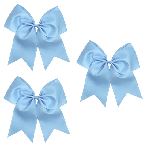 3 Carolina Blue Cheer Bow Large Hair Bows with Ponytail Holder Cheerleader Ribbon Cheerleading Softball Accessories