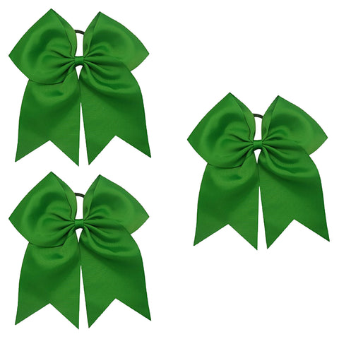 3 Green Cheer Bow Large Hair Bows with Ponytail Holder Cheerleader Ribbon Cheerleading Softball Accessories