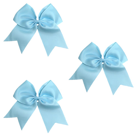 3 Light Blue Cheer Bow Large Hair Bows with Ponytail Holder Cheerleader Ribbon Cheerleading Softball Accessories