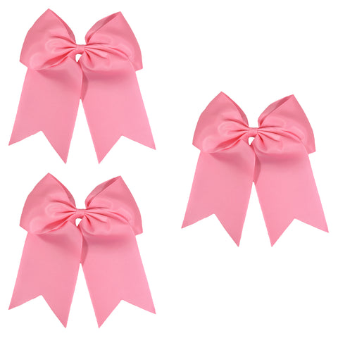 3 Light Pink Cheer Bow Large Hair Bows with Ponytail Holder Cheerleader Ribbon Cheerleading Softball Accessories