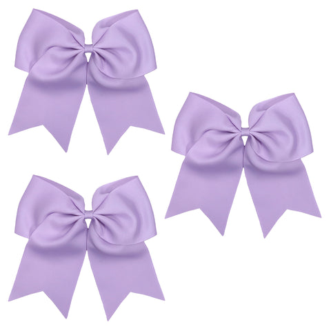 3 Light Purple Cheer Bow Large Hair Bows with Ponytail Holder Cheerleader Ribbon Cheerleading Softball Accessories