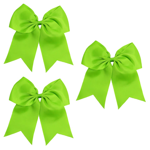 3 Lime Green Cheer Bow Large Hair Bows with Ponytail Holder Cheerleader Ribbon Cheerleading Softball Accessories