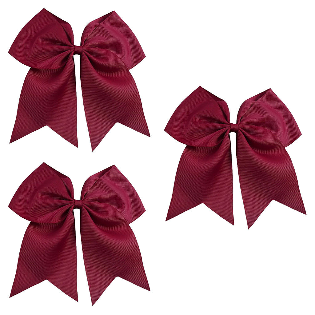 3 Maroon Cheer Bow Large Hair Bows with Ponytail Holder Cheerleader Ribbon Cheerleading Softball Accessories
