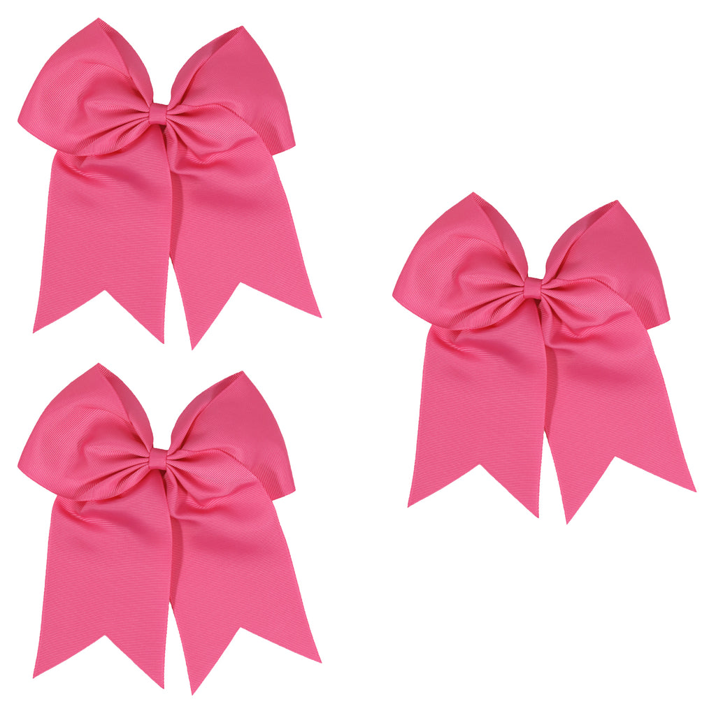 3 Medium Pink Cheer Bow Large Hair Bows with Ponytail Holder Cheerleader Ribbon Cheerleading Softball Accessories