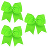 3 Neon Green Cheer Bows Large Hair Bows with Ponytail Holder Cheerleader Ribbon Cheerleading Softball Accessories