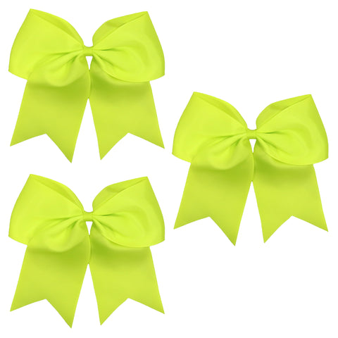3 Neon Yellow Cheer Bows Large Hair Bows with Ponytail Holder Cheerleader Ribbon Cheerleading Softball Accessories
