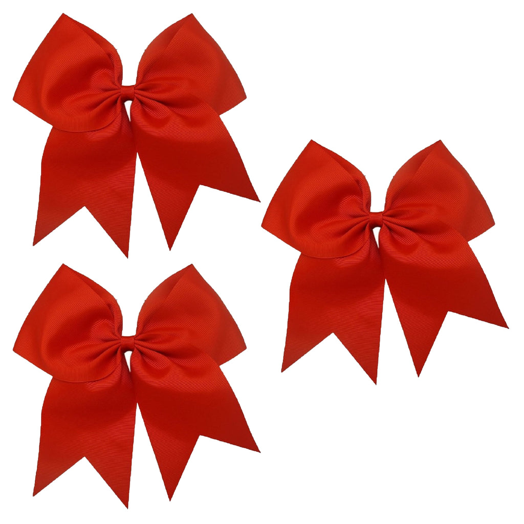 3 Red Cheer Bow Large Hair Bows with Ponytail Holder Cheerleader Ribbon Cheerleading Softball Accessories