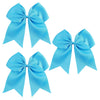 "3 Teal Cheer Bow for Girls 7"" Large Hair Bows with Ponytail Holder Ribbon"