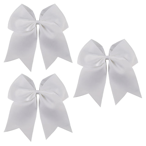 3 White Cheer Bow Large Hair Bows with Ponytail Holder Cheerleader Ribbon Cheerleading Softball Accessories