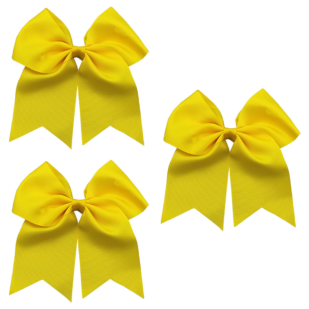 "3 Yellow Cheer Bow for Girls 7"" Large Hair Bows with Ponytail Holder Ribbon"