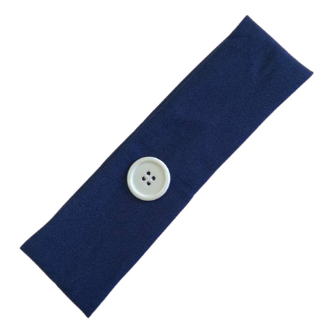 Button Ear Saver Cotton Headband Soft Stretch For Nurses Healthcare Workers Navy