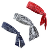 Running Headbands Tie in the Back 3 Moisture Wicking Athletic Head Sweat Band Bandana Red White Navy