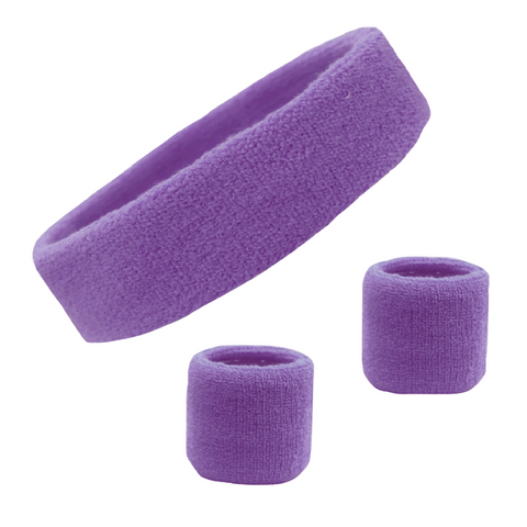Sweatband Set 1 Terry Cotton Headband and 2 Wristbands Pack Medium Purple
