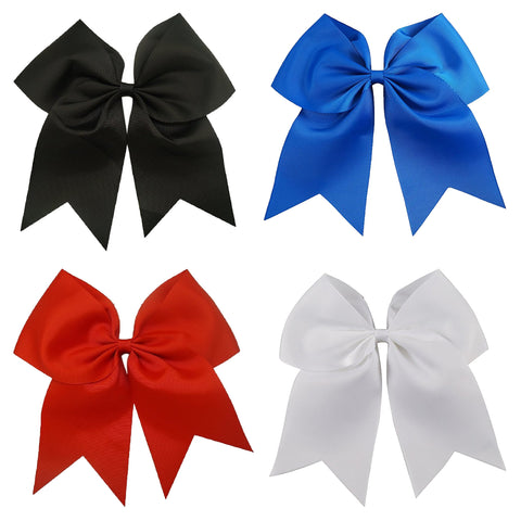 4 Basic Set Cheer Bows Large Hair Bow with Ponytail Holder Cheerleader Ponyholders Cheerleading Softball Accessories