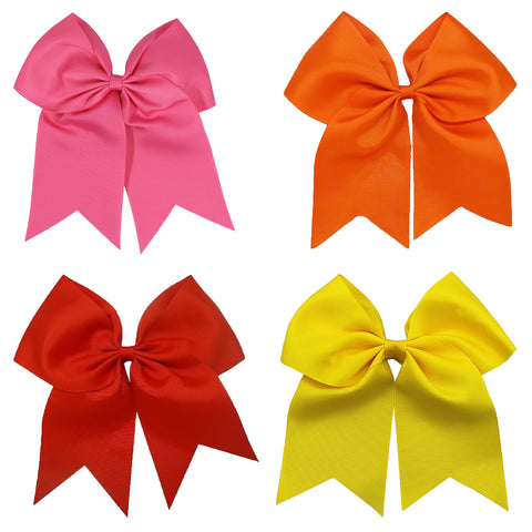 Warm Set 4 Cheer Bows Large Hair Bow with Ponytail Holder Cheerleader Ponyholders Cheerleading Softball Accessories