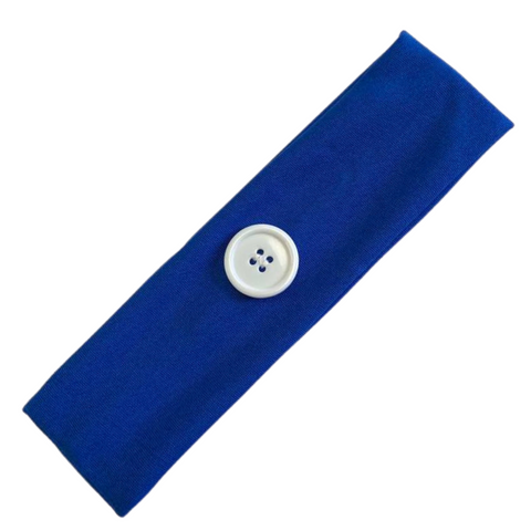 Button Ear Saver Cotton Headband Soft Stretch For Nurses Healthcare Workers Blue