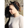 Knotted Bow Cotton Stretch Headband Black 1