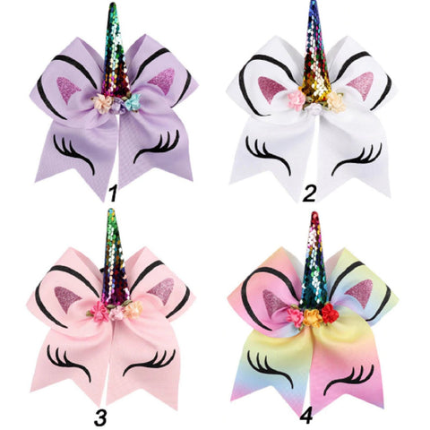 "Unicorn Cheer Bow for Girls 7"" Large Hair Bows with Ponytail Holder Ribbon"
