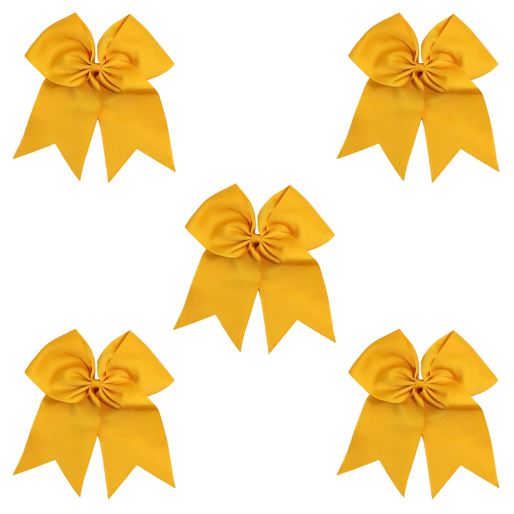 5 Athletic Gold Cheer Bow Large Hair Bows with Ponytail Holder Cheerleader Ribbon Cheerleading Softball Accessories