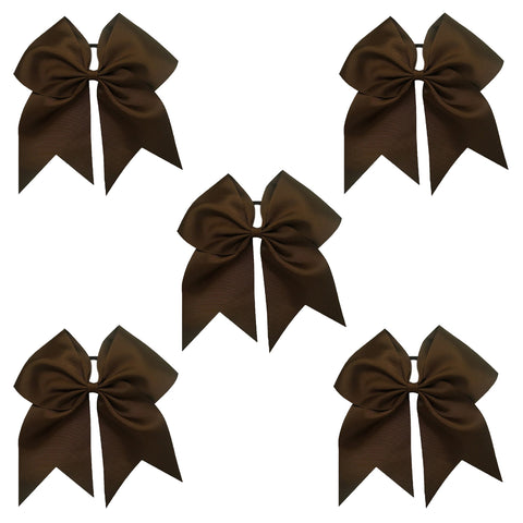5 Brown Cheer Bow Large Hair Bows with Ponytail Holder Cheerleader Ribbon Cheerleading Softball Accessories
