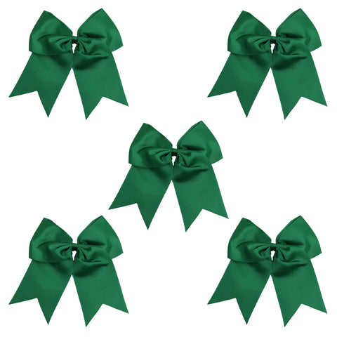 5 Forest Green Cheer Bow Large Hair Bows with Ponytail Holder Cheerleader Ribbon Cheerleading Softball Accessories