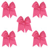 5 Medium Pink Cheer Bow Large Hair Bows with Ponytail Holder Cheerleader Ribbon Cheerleading Softball Accessories