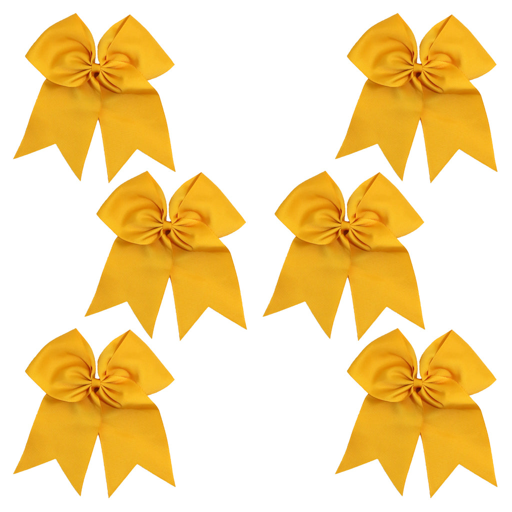 6 Athletic Gold Cheer Bows Large Hair Bow with Ponytail Holder Cheerleader Ponyholders Cheerleading Softball Accessories