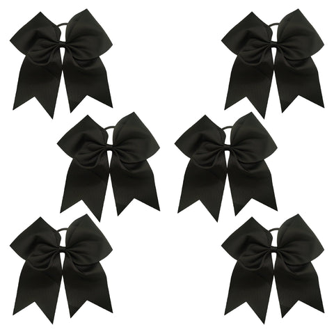 6 Black Cheer Bows Large Hair Bow with Ponytail Holder Cheerleader Ponyholders Cheerleading Softball Accessories