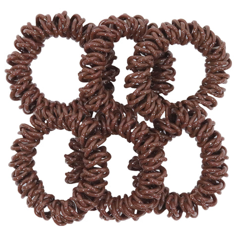 6 BROWN Spiral Hair Ties Elastic Coils Ponytail Holders Plastic Rubber Band