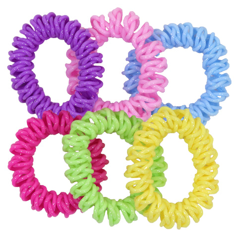 6 Rainbow Spiral Hair Ties Elastic Coils Ponytail Holders Plastic Rubber Band