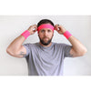 Sweatbands 12 Terry Cotton Sports Headbands Sweat Absorbing Head Bands Neon Pink