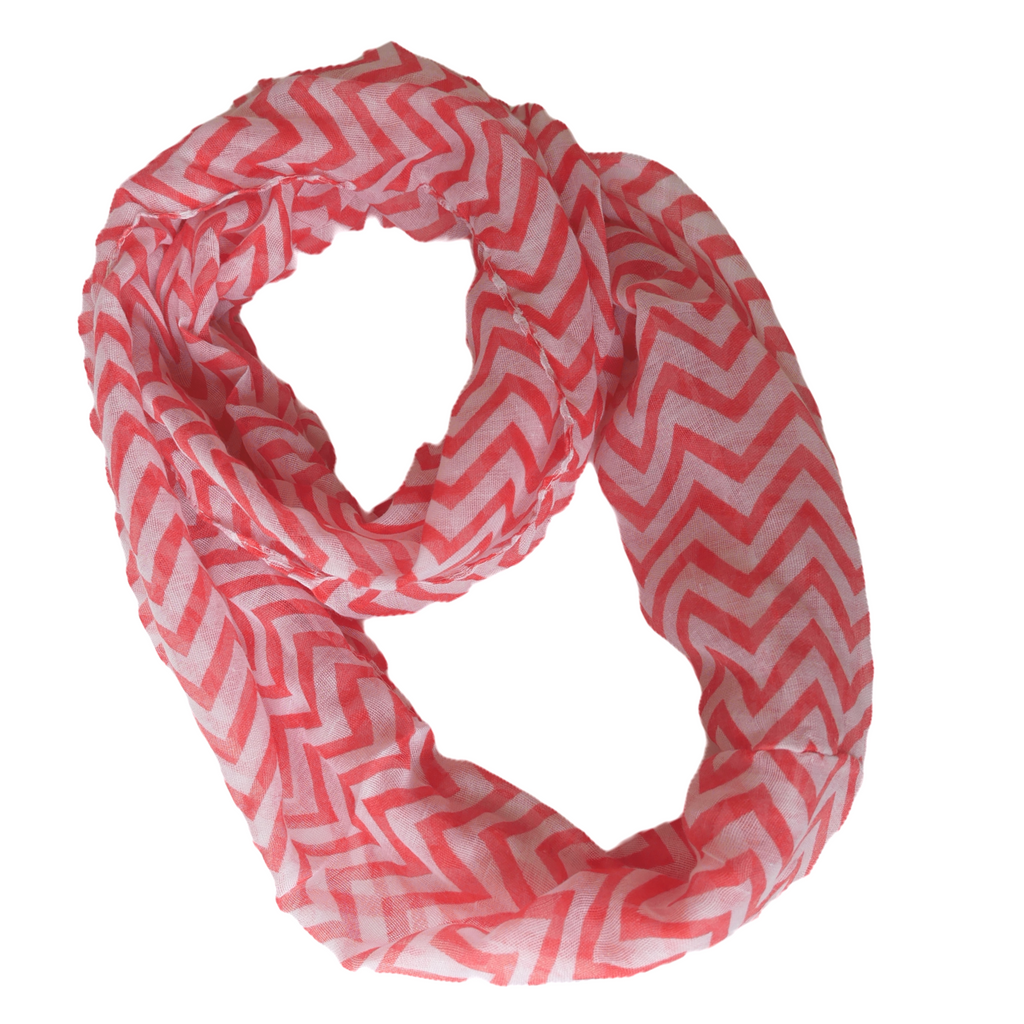Chevron Zig Zag Scarf for Women for Hair Fashion Outfit Red