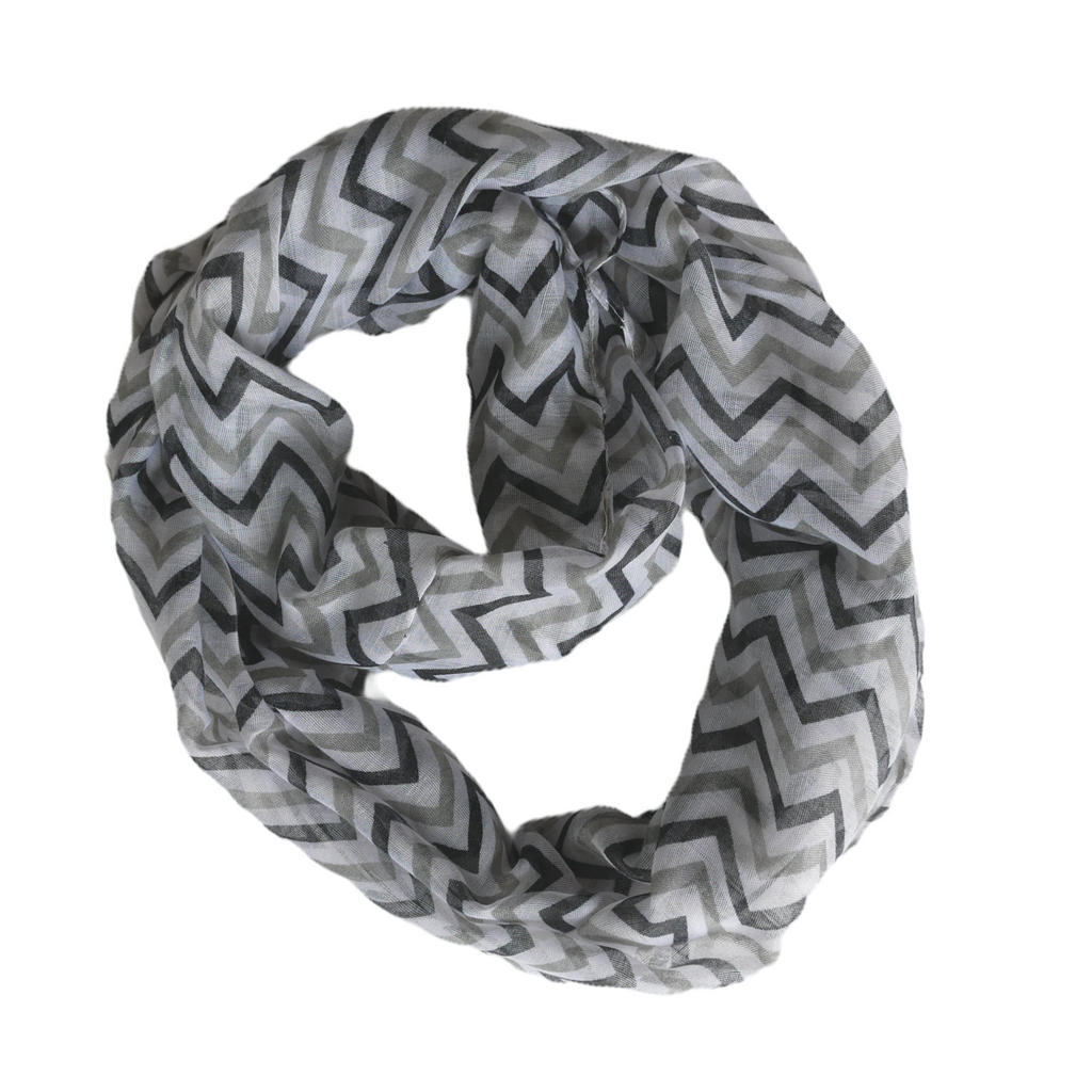 Chevron Zig Zag Scarf for Women for Hair Fashion Outfit Black