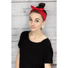 Knotted Bow Cotton Stretch Headbands Red 1