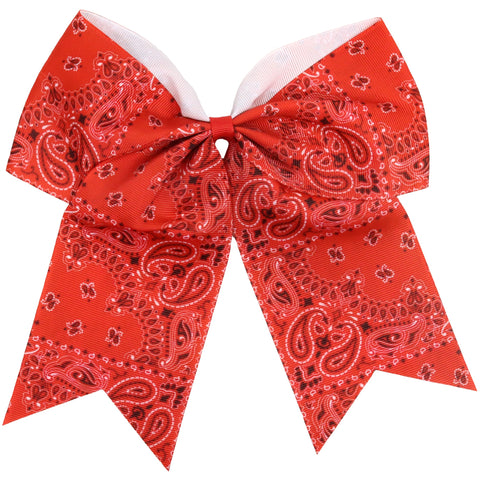 "Red Bandana Cheer Bow for Girls 7"" Large Hair Bows with Ponytail Holder Ribbon"