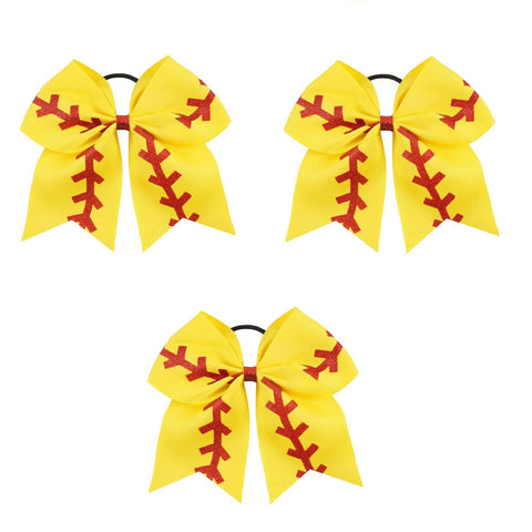 "3 Softball Cheer Bow for Girls 7"" Large Hair Bows with Ponytail Holder Glitter Ribbon"