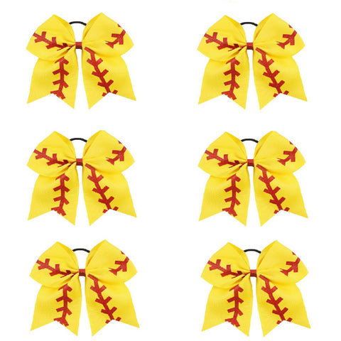 "6 Softball Cheer Bow for Girls 7"" Large Hair Bows with Ponytail Holder Ribbon"