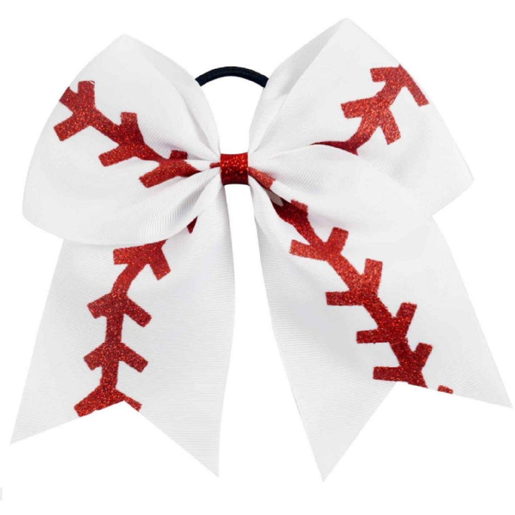 "6 Baseball Cheer Bow for Girls 7"" Large Sports Hair Bows with Ponytail Holder Ribbon"