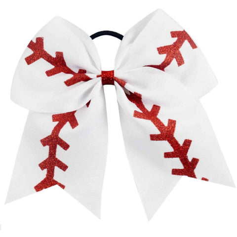 "6 Baseball Cheer Bow for Girls 7"" Large Hair Bows with Ponytail Holder Ribbon"