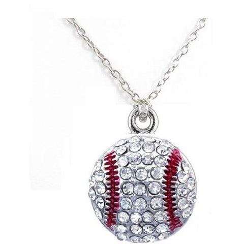 Baseball Necklace Rhinestone LARGE DOME