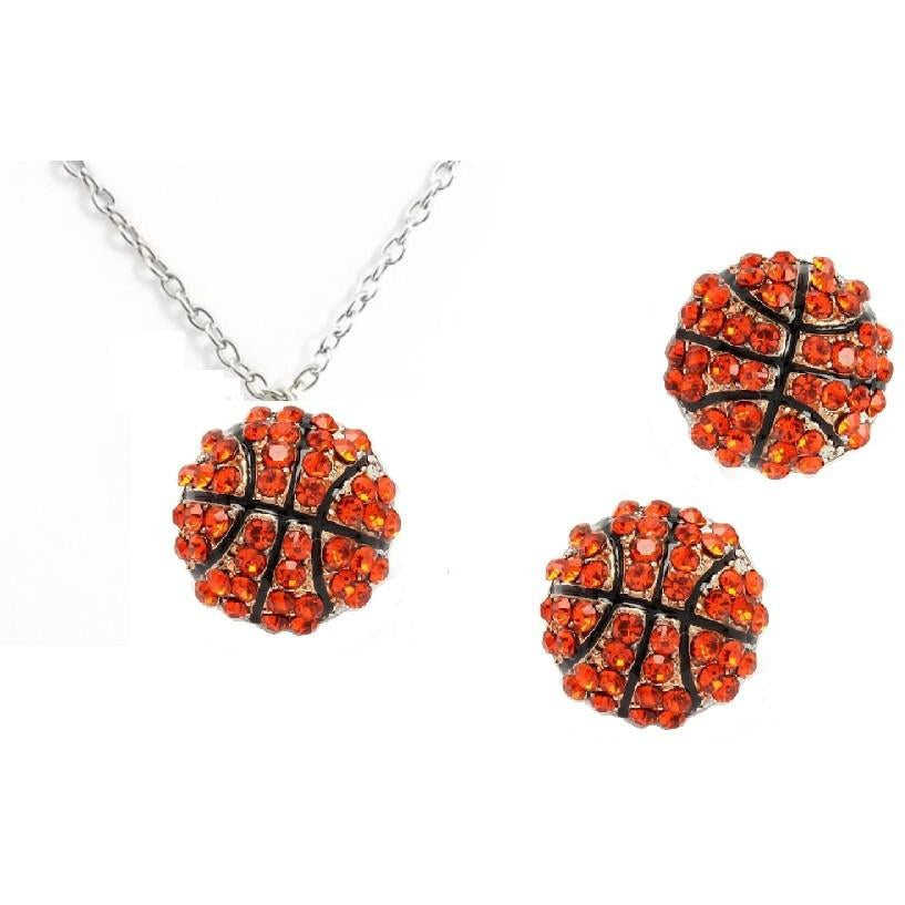 Basketball Set Post Earrings Necklace Rhinestone