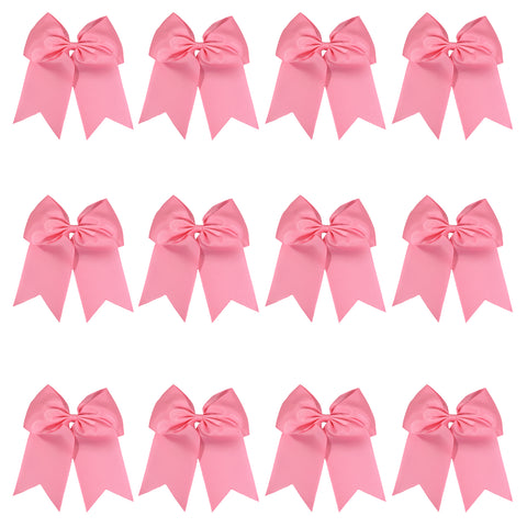 "12 Light Pink Cheer Bows for Girls 7"" Large Hair Bows with Clip Holder Ribbon"