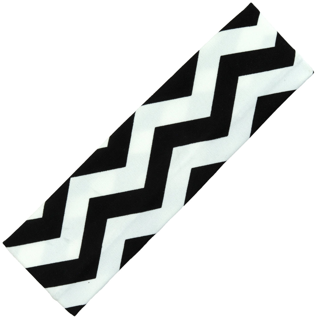 Cotton Headband Soft Stretch Headbands Sweat Absorbent Elastic Head Band Chevron Black