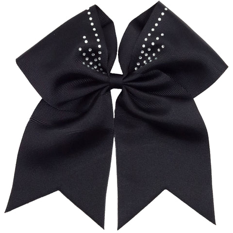 "1 Black Rhinestone Burst Cheer Bow for Girls 7"" Large Hair Bows with Ponytail Holder Ribbon"