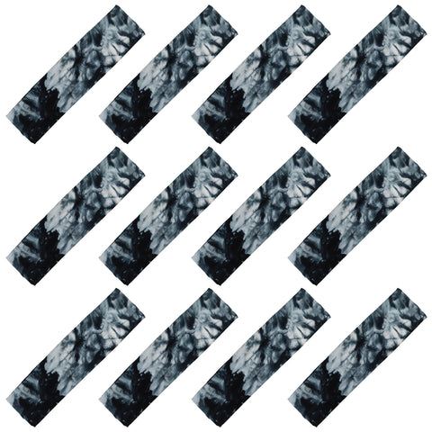 Cotton Headbands 12 Soft Stretch Headband Sweat Absorbent Elastic Head Band Tie Dye Black
